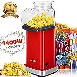 Aicook Macchina pop corn, 1400W Macchina per Popcorn Senza Olio e Grassi, Pentola Antiaderente, Bocca Larga, Coperchio Rimovibile & Misurino, Senza BPA, Rosso