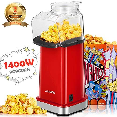Popcornmaschine 1400W, Aicook Automatische Popcorn Maker Machine für Zuhause, Weit-Kaliber-Design inkl. Messlöffel, Heissluft Ohne Fett Fettfrei Ölfrei, BPA-Frei
