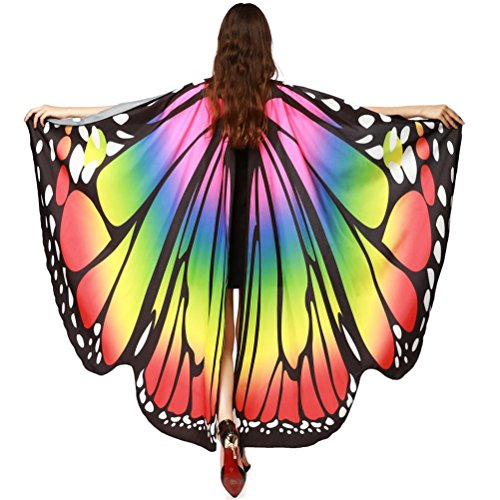 rauen Schmetterlingsflügel Schal Schals Nymph Pixie Poncho Kostüm Zubehör (Mehrfarbig) ()