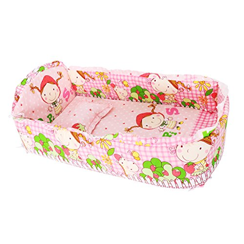 Baoblaze Baby Bett Stoßstange Baumwolle Safe Krippe Stoßfänger Bettwäsche Sets (5pcs) - Rosa Prinzessin