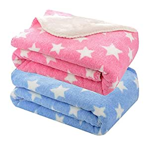 My Newborn Soft Flannel Blanket Wrappers for Babies-Combo, Sky and Pink (Pack of 2)