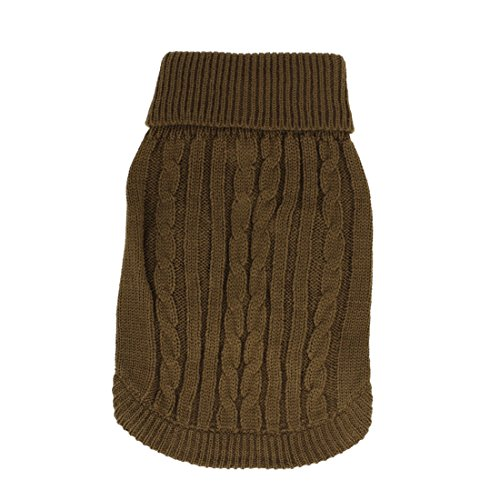 Sourcingmap Gerippte Bündchen Twisted Knit Rollkragen Pet Coat Sweater, X-Small, Kaffee Farbe