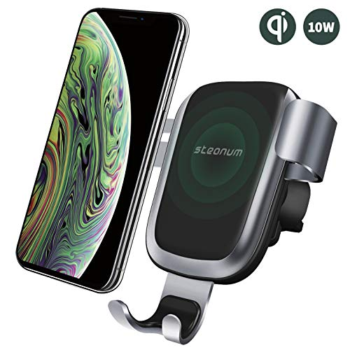 steanum Qi Ladestation Auto, Wireless Charger Auto Qi Handy Autohalterung Kompatible für iPhone 11 Pro Max/Xs Max/Xr/X/8 8Plus, Galaxy S9 S8 S7 S6, Note 5/8/9, Schwarz