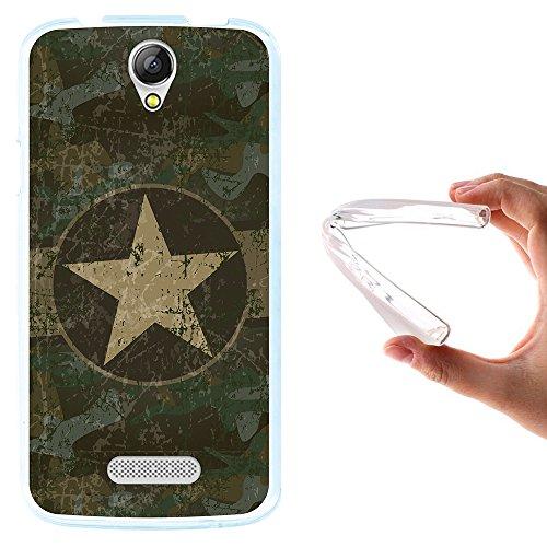 WoowCase Doogee X6 - X6 Pro Hülle, Handyhülle Silikon für [ Doogee X6 - X6 Pro ] Militärischer Stern Handytasche Handy Cover Case Schutzhülle Flexible TPU - Transparent