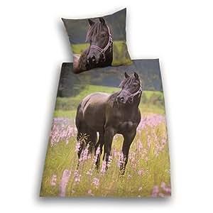 herding 442485050 bettw sche pferde motiv kopfkissenbezug 80 x 80 cm bettbezug 135 x 200 cm. Black Bedroom Furniture Sets. Home Design Ideas