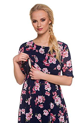 My Tummy Mutterschafts Kleid Stillkleid Aurora Blumen rosa Navy - 2