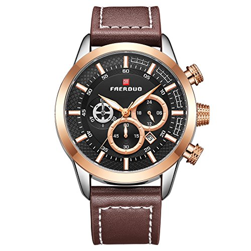 FAERDUO Relojes para hombres, relojes de cuarzo, marcación múltiple, visualización de la fecha, moda, negocios, relojes de lujo, estilo minimalista, ropa deportiva, relojes de regalo Oro