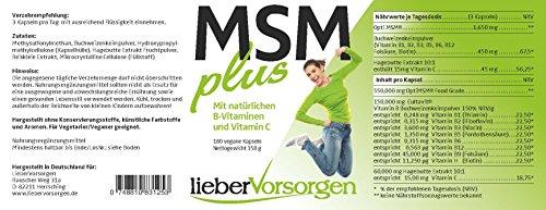 MSM Kapseln von LieberVorsorgen. Stärkste Kombination mit natürlichen B-Vitaminen und Vitamin C. 1.650mg MSM pro Tagesdosis. 100% vegan. Premiumprodukt aus Deutschland.
