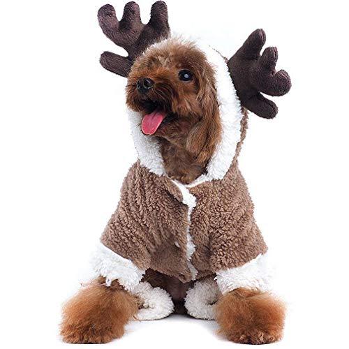 Für Rentier Kostüm Katzen - Yonfan Hunde Kleidung für Winter Hundemantel Rentier Weihnachten Kostüm für Kleine und Mittlere Größe Hunde, Katzen, Welpen Fancy Dress Up