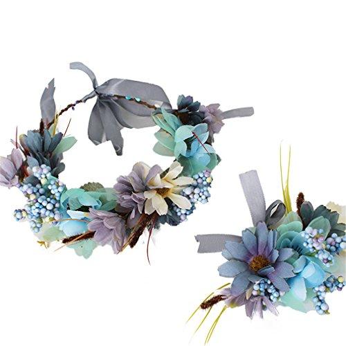 YAZILIND guirnalda floral tocado nupcial diadema flor pulsera guirnalda para bodas festivales turismo Marina
