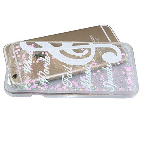 Flüssigkeit Glitzer Hülle für iPhone SE,Transparent Hülle für iPhone SE,iPhone 5S Clear Hard Case Hülle Klare Plastic Gel Schutzhülle Durchsichtig Rückschale Etui für iPhone 5,iPhone 5S Hülle Blumen C Pink Heart 7