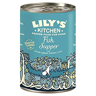 Lily's Kitchen Fish Supper Complete Wet Food for Dogs with Sensitive Tummies, 400 g, Pack of 6