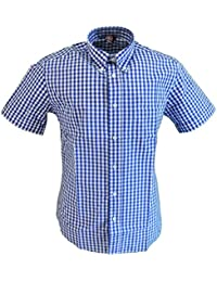 Warrior Blue Gingham 100% Cotton Short Sleeved Shirts Small to 5Xlarge …