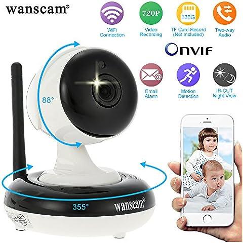 Wanscam Cámara IP Inalámbrica 720P (Pan Tilt, 1/4'' CMOS, WIFI, 11 IR LED, Visión Nocturna, Seguridad Interior, Soporta TF Tarjeta Grabación Max