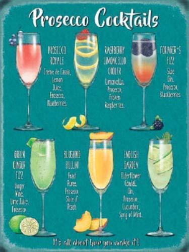 qidushop Schild Fun Prosecco Cocktail Recipes Drink Kitchen Bar Stahlschild Lustiges Aluminium Schild für Garage Haus Hofzaun Auffahrt