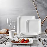 vancasso Gitana 30pezzi set di stoviglie in porcellana bianca, rettangolare, servizio combinato, con je 6tazze di caffè, piattini, piatti da dessert, piatti piani e piatti fondi per 6persone