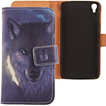 "Lankashi PU Flip Funda De Carcasa Cuero Case Cover Piel Para Alcatel One Touch Idol 3 5.5"" Wolf Design"