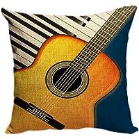 violetpos funda de cojín decorativo sofá cojín funda Auto Fundas de cojín fundas de almohada personalidad Guitarra y teclas de piano Música, lino, azul, 45 x 45 cm