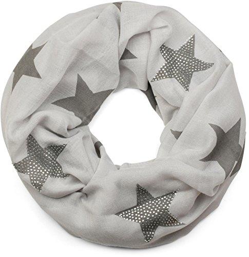 styleBREAKER Loop Schal mit Sterne Muster und edler Strass Applikation, Schlauchschal, Tuch, Damen 01018086, Farbe:Hellgrau-Grau (One Size)