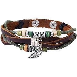 Morella pulsera de cuero trenzada de color café con cuerda de perlas de madera y colgante Charms hoja para damas