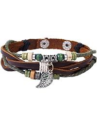 Morella Damen Armband Lederarmband Beads Perlen und Anhängern