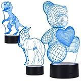 kwmobile lámpara de ilusión óptica LED 3D - lámpara de color cambiante con 3 diseños - ilusión óptica - luz decorativa con cable USB de 1m