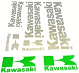 Aufkleber Sticker Set - Kawasaki - Silber / Grün - 10 Stück auf A4 Bogen