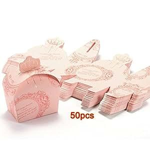 SODIAL (R) 50x Bomboniera scatola rosa Accessori nozze tavola decorazione floreale Festa Battesimo