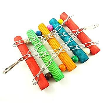 Peino Patte de support en bois Jouet pour animal domestique Oiseau Parrot Inséparable Cage jouet (Coloré)
