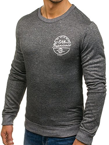 BOLF Herren Pullover Sweatshirt Langarmshirt Sport MIX Anthrazit_9035