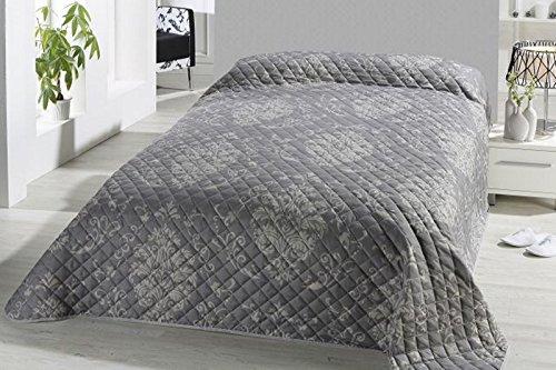 Fashion&Joy XL Bettüberwurf Tagesdecke gesteppt 220x240 Steppdecke Barock Ornamente Überwurf...