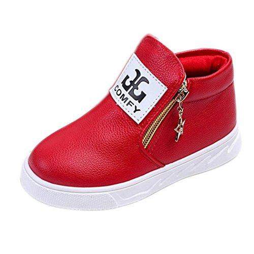 Igemy 1 Paar Kinder Beiläufig Sport Jungen Mädchen Mode Martin Stiefel Sneakers Schuhe (21, Rot)