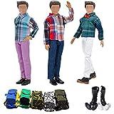 Lance Home 12pz Essenziale Accessori per Ken Barbie Principe Bambole Ragazzo Bambola Stile casuale (3 Cime 3 Pantaloni Casual Vestiti 3 Borsa 3 paia Scarpe)