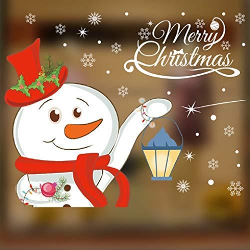Heekpek decorazioni natalizie adesivo di natale adesivi di pupazzo di neve di natale vetro negozi caffetterie vetrine adesivi per la decorazione della casa