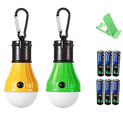 führte Camping Lichter führte Zelt Licht Notlicht [2 Pack] gelb-grün Batterie 6 Handy Stand zufällige Farbe YZFDBSX von YZFDBSX bei Outdoor Shop