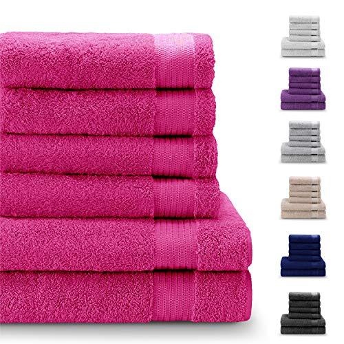 Twinzen Chemikalien-Frei Handtuch Set (6-Teilig) mit 4 Handtücher und 2 Badetüchern, 100{5b9aed3b35e561566f9e759243e1fd6f233b204ced6787c26eb9fc61dbd4078e} Baumwolle - Oeko TEX Std 100 Zertifizierung - Weich und Saugstark - Waschmaschinenfest - Schwimmbad