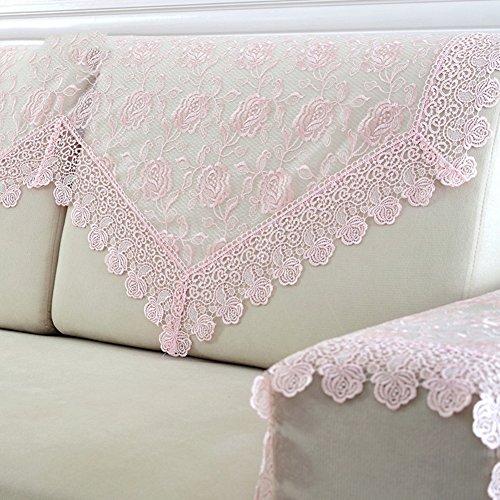 Lililili pizzo paraschiena divano,anti-scivolo protettore di cane divano tinta unita divano slipcovers addensare tiro copertura divano per 1,2,3,4 fodere -rosa tovagliolo schienale90x150cm(35x59inch)