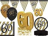 27 tlg. Party Deko Set zum 60. Geburtstag oder Jubiläum in Schwarz & Gold