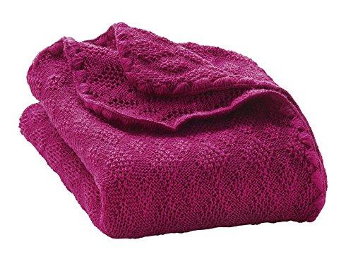 Disana Baby Wolldecke - Gestrickt aus 100% kbT Schurwolle, Farbe Beere -
