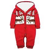 Longra Baby Weihnachten Overall Strampler Baby Jungen Mädchen Cartoon Winterjacke Winteroverall Pullover Strampelanzug mit Kapuze Weihnachten Deer Jumpsuits Weihnachtskostüm (Red, 85CM 18Monate)