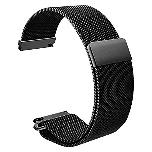 22mm schwarz Uhrenarmband Magnetverschluss Maschenschleife milanese Edelstahlmetallband Armband Armband