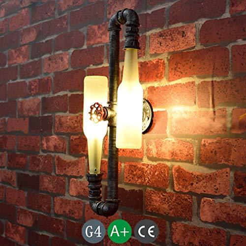LED Wandlampe Innen Nachttischlampe Wandleuchte Kinder Schlafzimmer Retro Vintage Glas Flasche Wandleuchten Kinderzimmer Antik Wandlampen Küche Wandbeleuchtung Deko Leuchte Flur 2*G4 Lampe 12 * 43 cm (Glas Antike Flaschen)