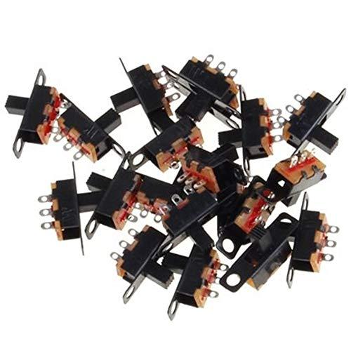 Lezed 50 Pcs Mini Horizontal Schiebeschalter Mini-Panel Schiebeschalter Montage Löten Schalter Panel Mount Schiebeschalter Mini-Format SPDT Schiebeschalter Mini Schiebeschalter Schalter 1P2T -