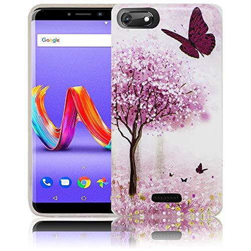 thematys Passend für Wiko Harry 2 Kirschblütenbaum Schmetterling Handy-Hülle Silikon - staubdicht stoßfest & leicht - Smartphone-Case