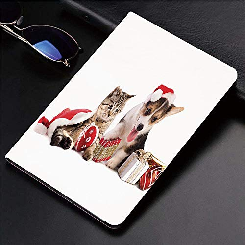Yaoni Hülle für iPad (9,7 Zoll, Modell 2018/2017, 6. / 5. Generation),Weihnachten, Hund und Katze in Santa Hüte mit Üb,Ultra Slim Cover Schutzhülle PU Lederhülle/mit Auto Sleep Wake Up Funktion