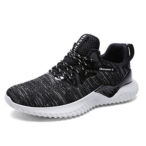 UBFEN Zapatillas de Running Padel para Hombres Zapatos Deportivas Gimnasio Correr Deportes de Exterior y Interior Fitness Casual Sneakers EU 42 A Negro Blanco