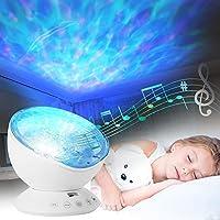 Lámpara Proyector, Migimi Lámpara de Proyección, Diseño de Océano, Lámpara Nocturna con 12 Ledes, Mp3 Integrado, Altavoz, 7 Modos De Luz Multicolor - Para Bebé, Niños, Sala de Estar y El Dormitorio