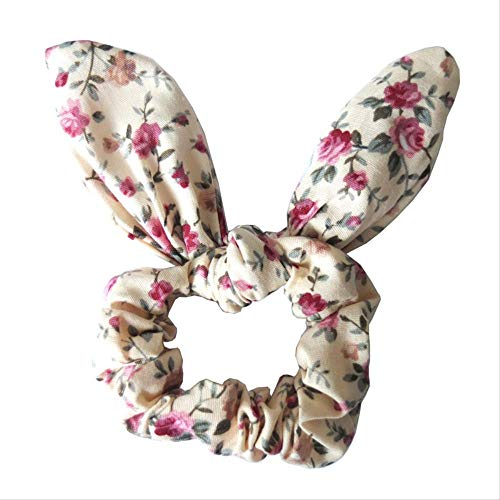 WYHH Kopfbedeckung Stirnband Hasenohren Haarknoten Schleife Haargummi Schleife Kaninchen Ohren elastisch Pferdeschwanz Halter Haarschleife Blumen-112 -