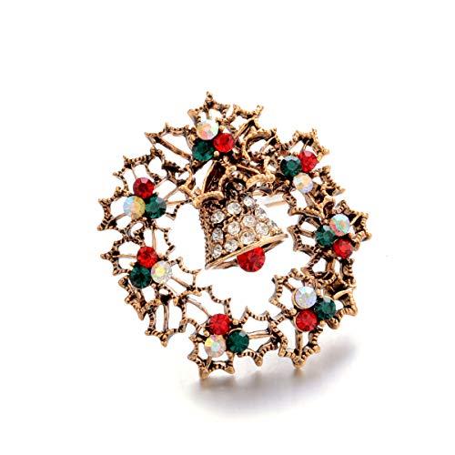 Vektenxi Premium Crystal Little Broches Pins Navidad Bell Vintage Broche joyas regalos...
