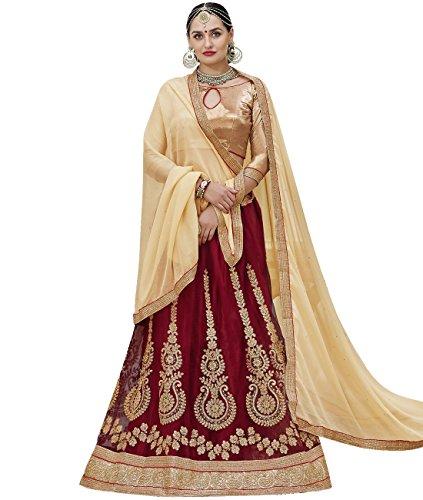 Indian Ethnicwear Bollywood Pakistani Wedding Red A-Line Lehenga Semi-stitched-ARD43001